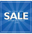 sale best offer of the day blue background vector image