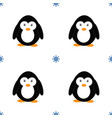 seamless pattern with penguins and snowflakes vector image vector image
