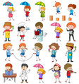 set different doodle kids cartoon character vector image vector image