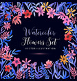 set watercolor florals and brunch on a dark vector image