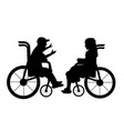 silhouettes talking children boy in wheelchair vector image vector image