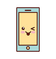 smartphone technology kawaii style line icon vector image