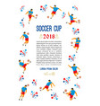 soccer cup template with soccer players vector image