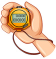 Stopwatch in the hand vector image vector image
