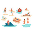 summer people men and women at beach tourists vector image vector image