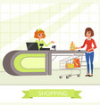 supermarket store cashier and customer with vector image