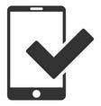 valid smartphone flat icon vector image vector image