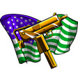 weapont uzi with american flag vector image vector image