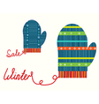 Winter christmas sale icons with gloves vector image vector image