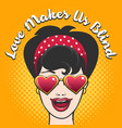 woman in heart shaped glasses and wording love vector image vector image