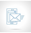 Flat blue line mobile mail icon vector image