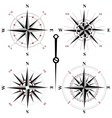Black and white wind rose icons vector image