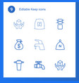 9 keep icons vector image vector image