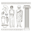 ancient greek traditional costumes vector image