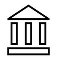 bank building icon with outline style vector image vector image