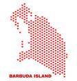 barbuda island map - mosaic of lovely hearts vector image vector image