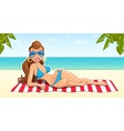 Beautiful girl on beach vector image vector image