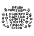 black and white gingerbread alphabet letters vector image vector image