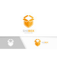 box and shield logo combination package vector image vector image