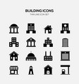 building and real estate icon set black and white vector image