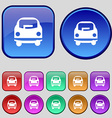 Car icon sign A set of twelve vintage buttons for vector image vector image