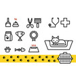 cat icon set for veterinary clinic shelter vector image
