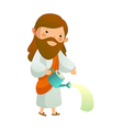 Close-up of Jesus Christ holding watering can vector image vector image