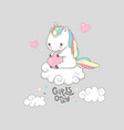 cute baby unicorn girls only motivational banner vector image
