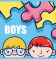 cute boys faces cartoon vector image vector image