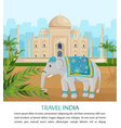 cute elephant symbol of india country taj vector image vector image