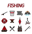 Fishing flat icon set vector image vector image