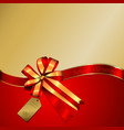Gift box Gold and Red ribbon Christmas and new vector image