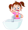 girl brushing teeth vector image vector image