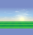 green field with blue sky and clouds background vector image
