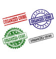 grunge textured organized crime stamp seals vector image vector image