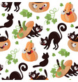 halloween cat pumpkin flat design seamless pattern vector image