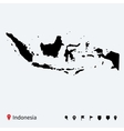 High detailed map of Indonesia with navigation vector image