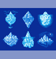 iceberg in ocean set a large piece a vector image vector image