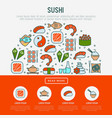 japanese food concept in half circle vector image vector image