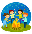 kids having bonfire vector image vector image