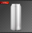 metal aluminum beverage drink can on transparent vector image