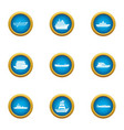 metal boat icons set flat style vector image vector image