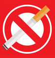 no smoking sign with cigarette vector image