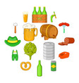 octoberfest icons set cartoon style vector image