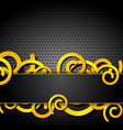 orange spirals on dark grey perforated background vector image vector image