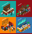 people in bar isometric 2x2 design concept vector image vector image