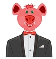 Piglet in suit with butterfly vector image vector image