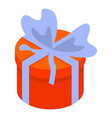 round red gift box icon isometric style vector image vector image