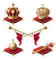 royal golden crowns fanfares scepter and orb vector image vector image