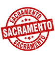 sacramento red round grunge stamp vector image vector image